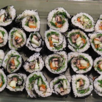 Plant based sushi with mushrooms and cucumber